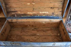 Antique French horse carriage trunk with blue patina
