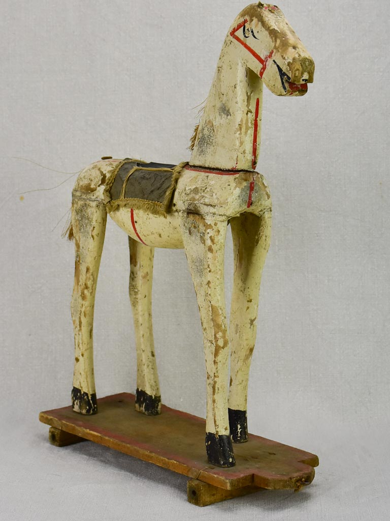Early 20th Century antique French wooden toy horse - small 17¼""