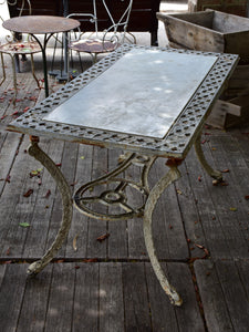 Rectangular French marble top garden table – 1920's