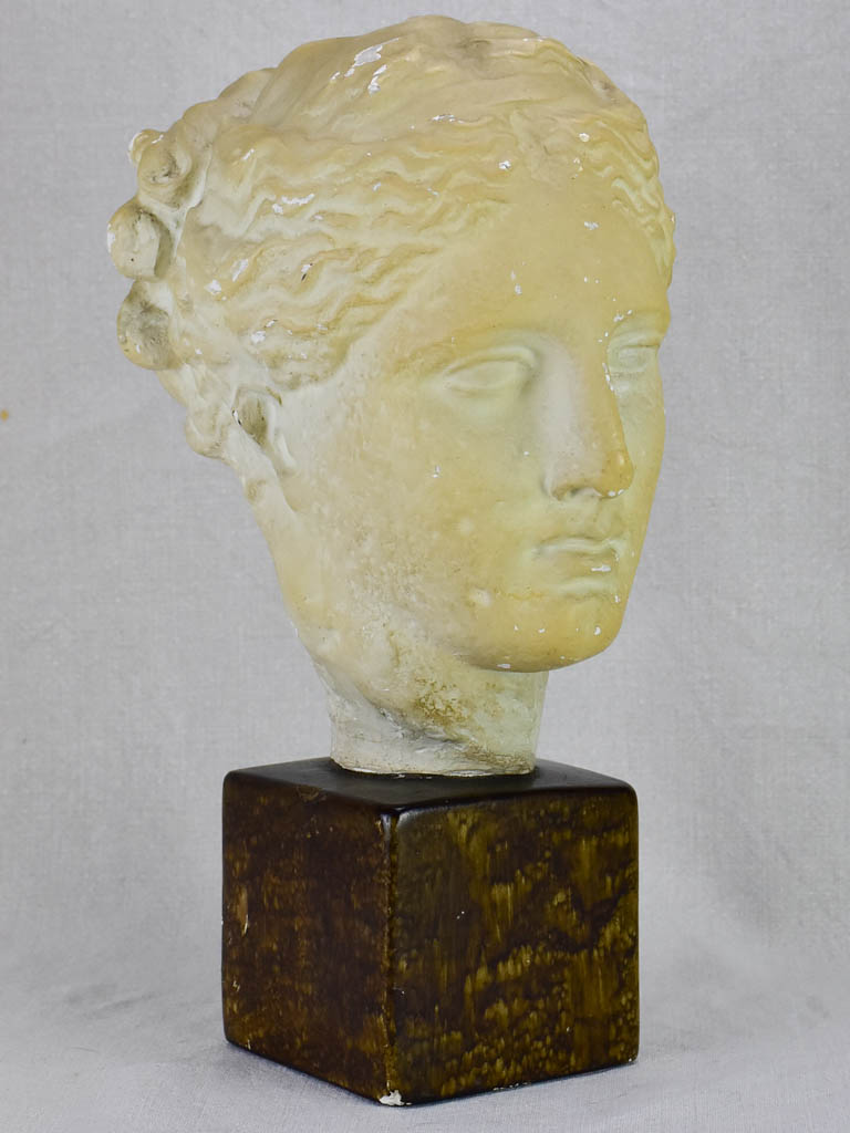 Mid century French plaster bust of a goddess 16¼""