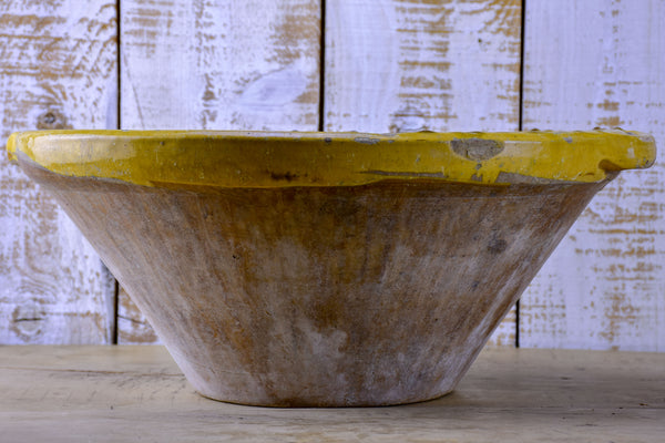 Antique French tian preserving bowl with yellow glaze