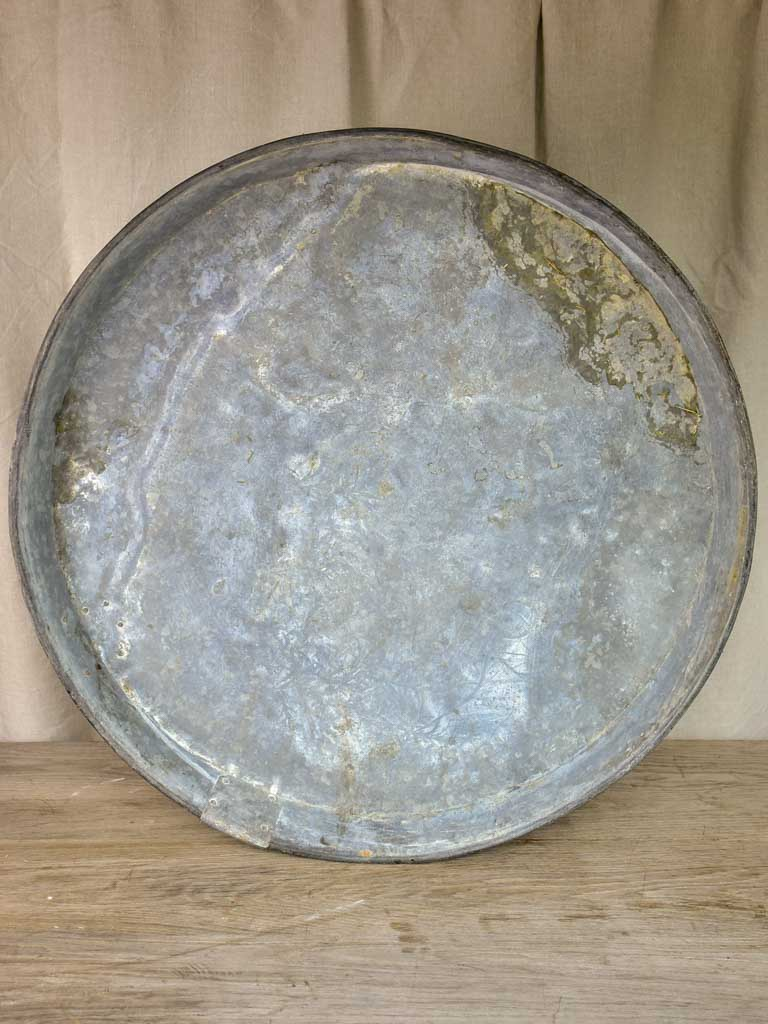 Six large antique French zinc dishes for resin