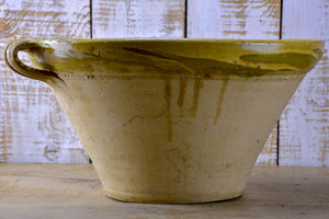 Antique French deep preserving bowl with yellow glaze
