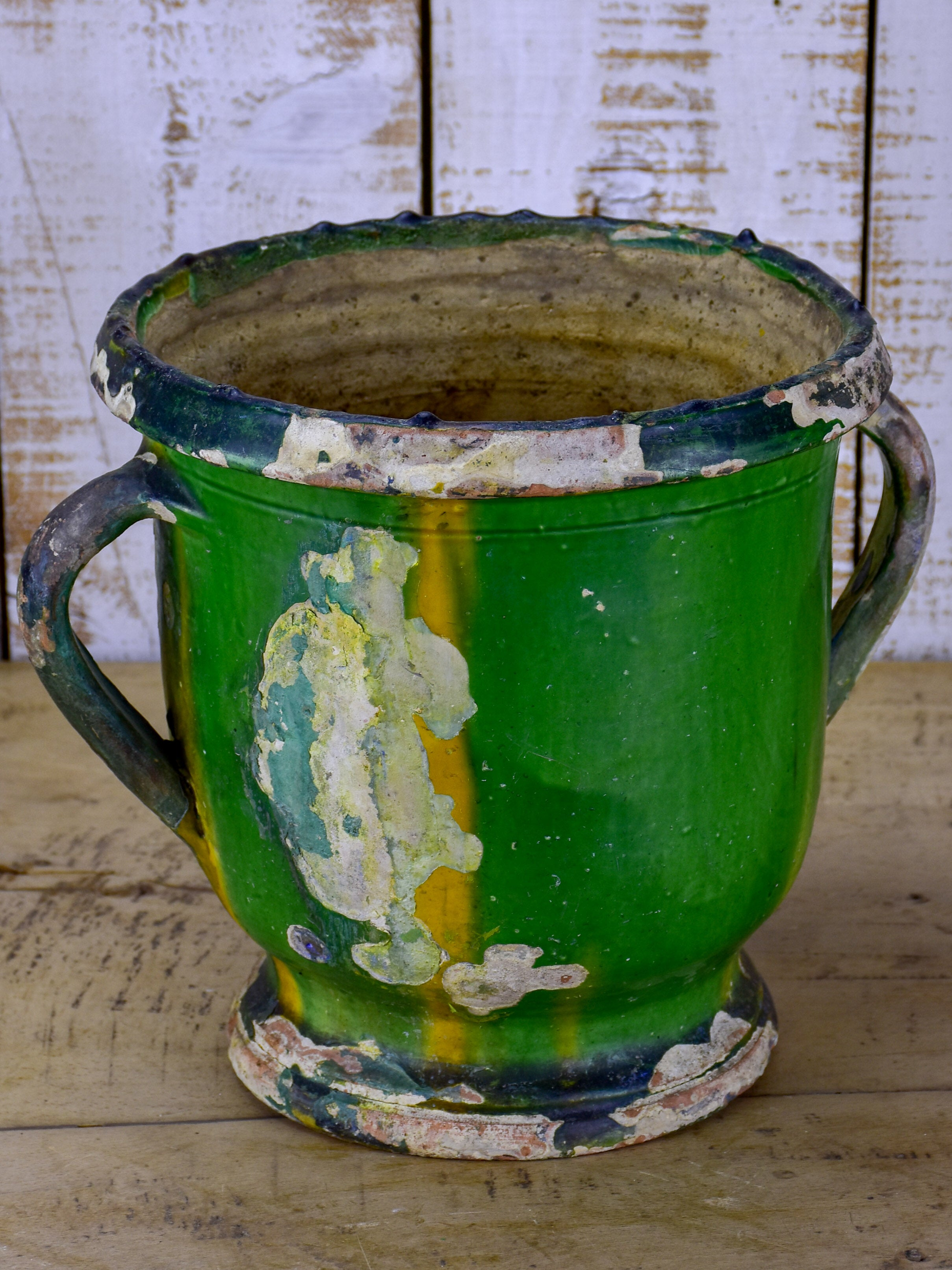 Antique French Castelnaudary garden planter with yellow and green glaze
