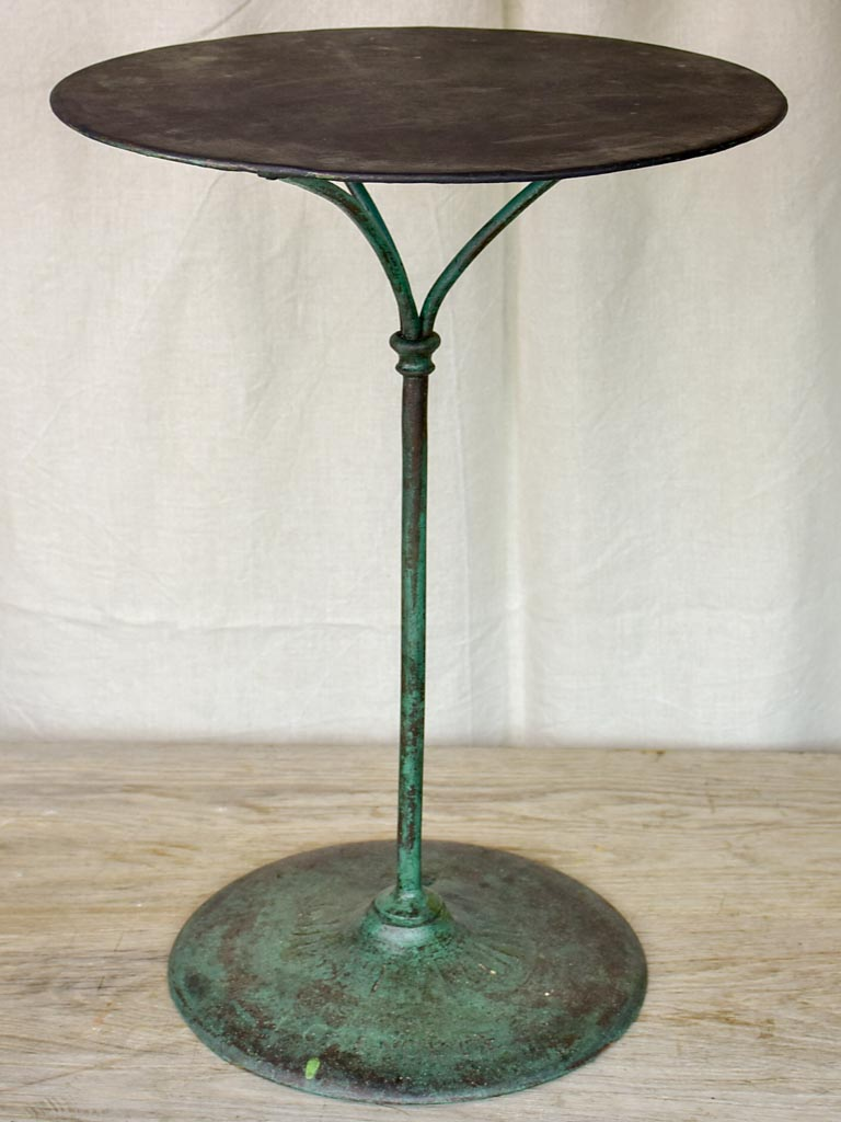 Antique French garden table from Grenoble with green patina