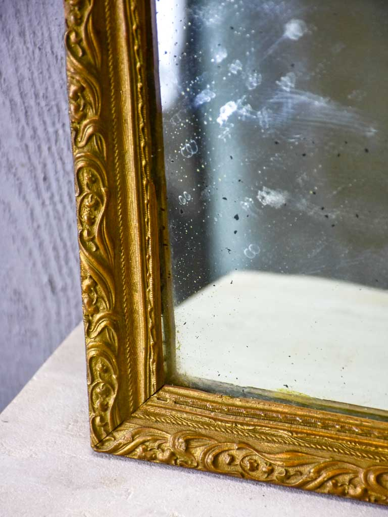 "Small 19th Century French mirror with gilded frame 11½"" x 15¼"""
