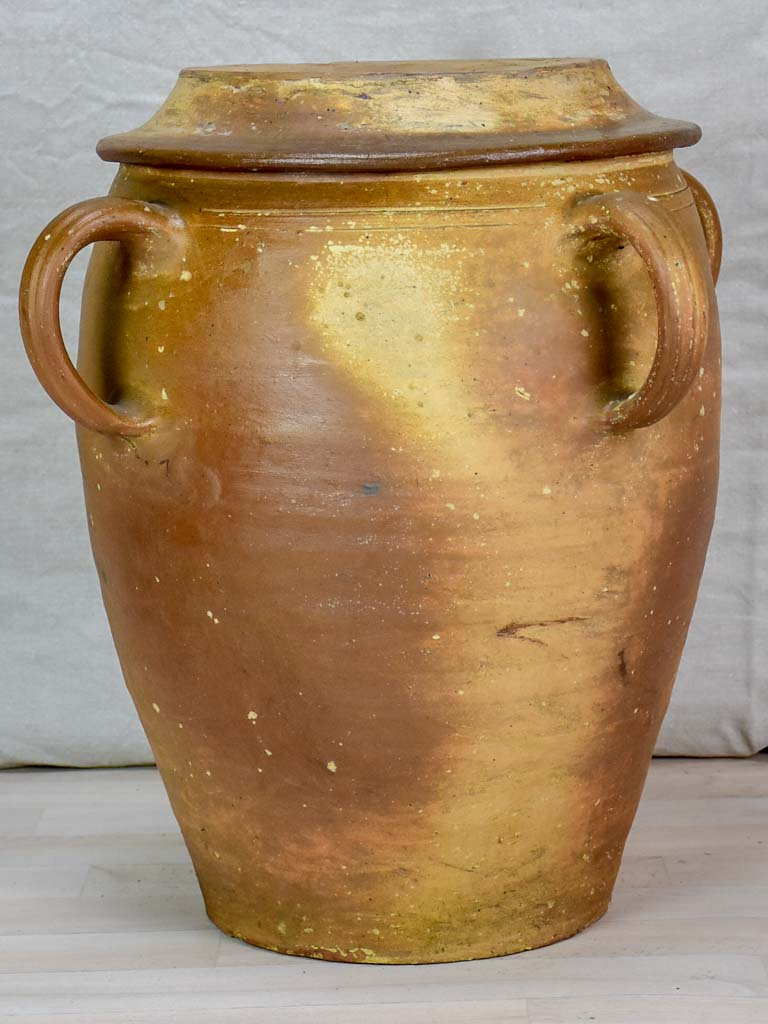 Large antique ceramic olive pot with four handles and lid 22""