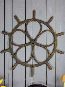 Large antique French steering wheel from a boat 40½""