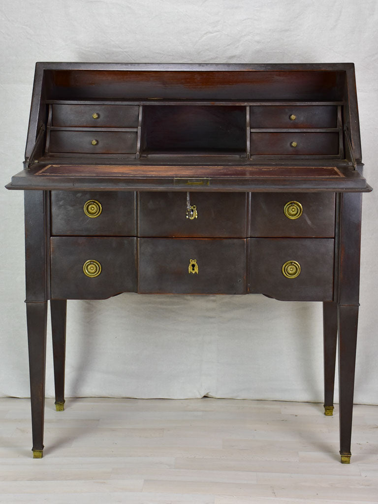 Louis XVI secretaire / antique French desk with black patina