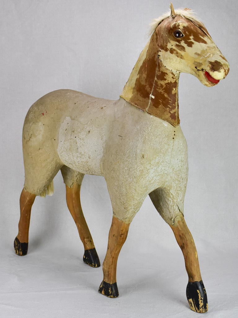 Large rustic antique French toy horse 28""