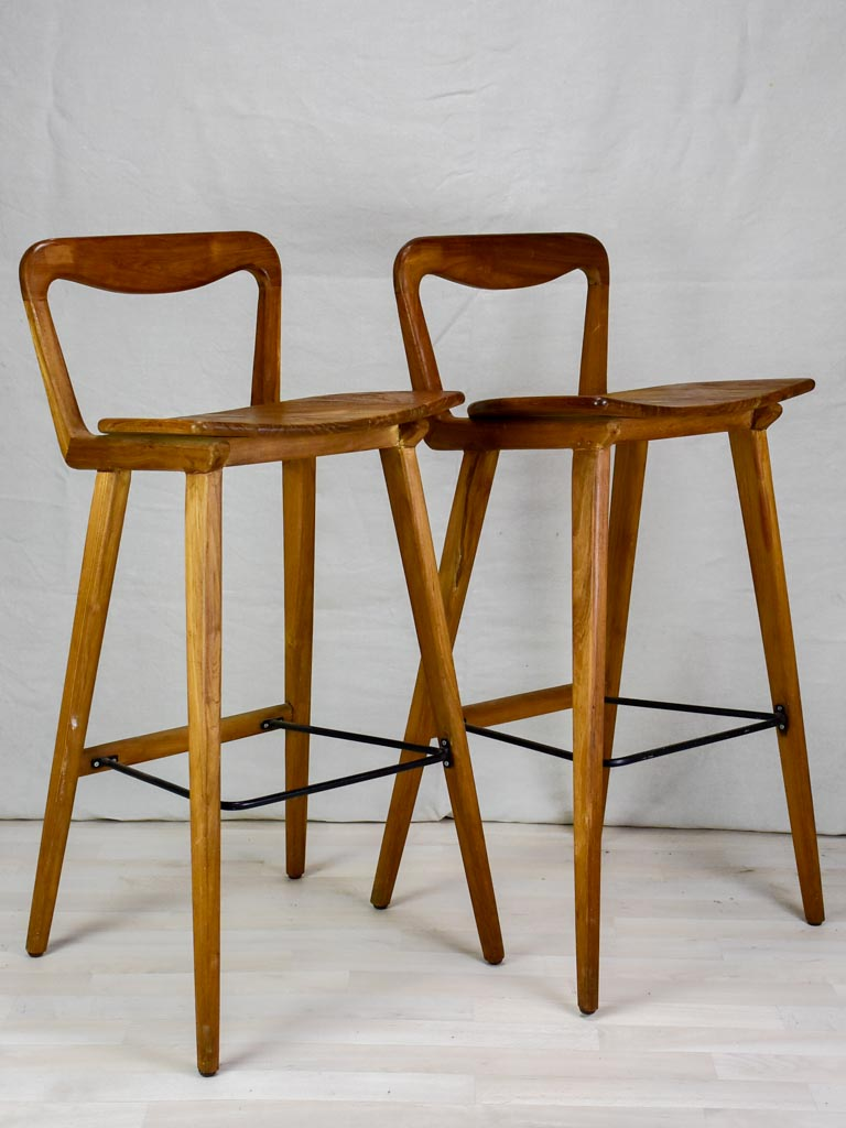 Pair of vintage Scandinavian teak bar stools