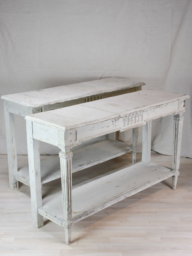 Pair of antique French console tables with beige  53¼""