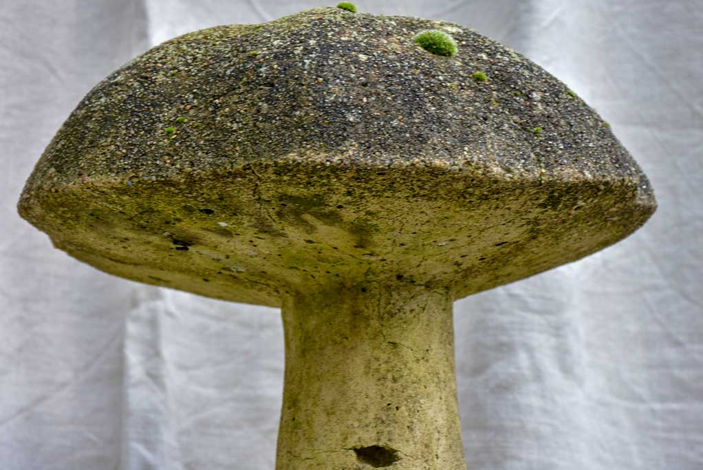 Antique French garden sculpture of a mushroom