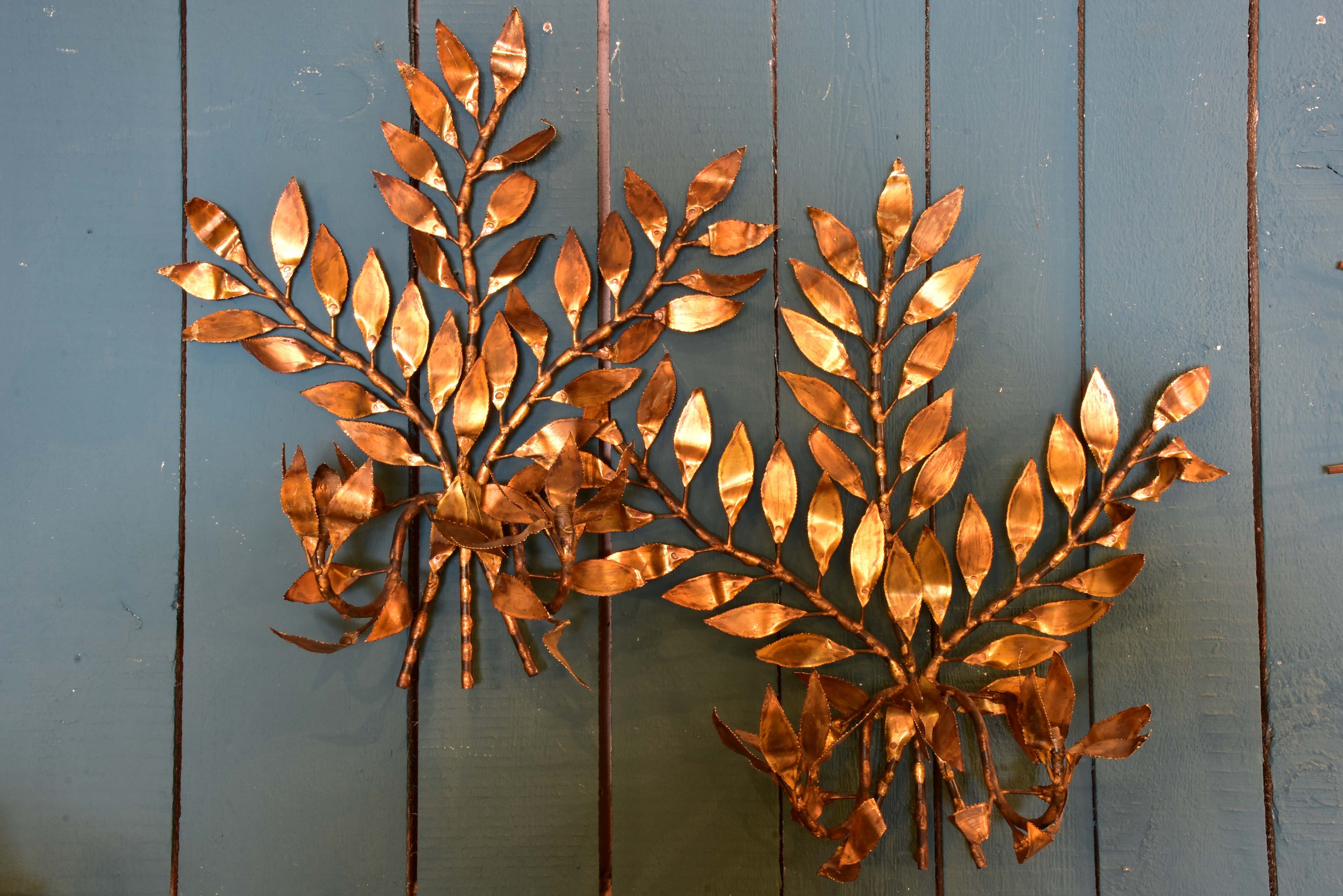 Mid-century wall appliques – golden foliage