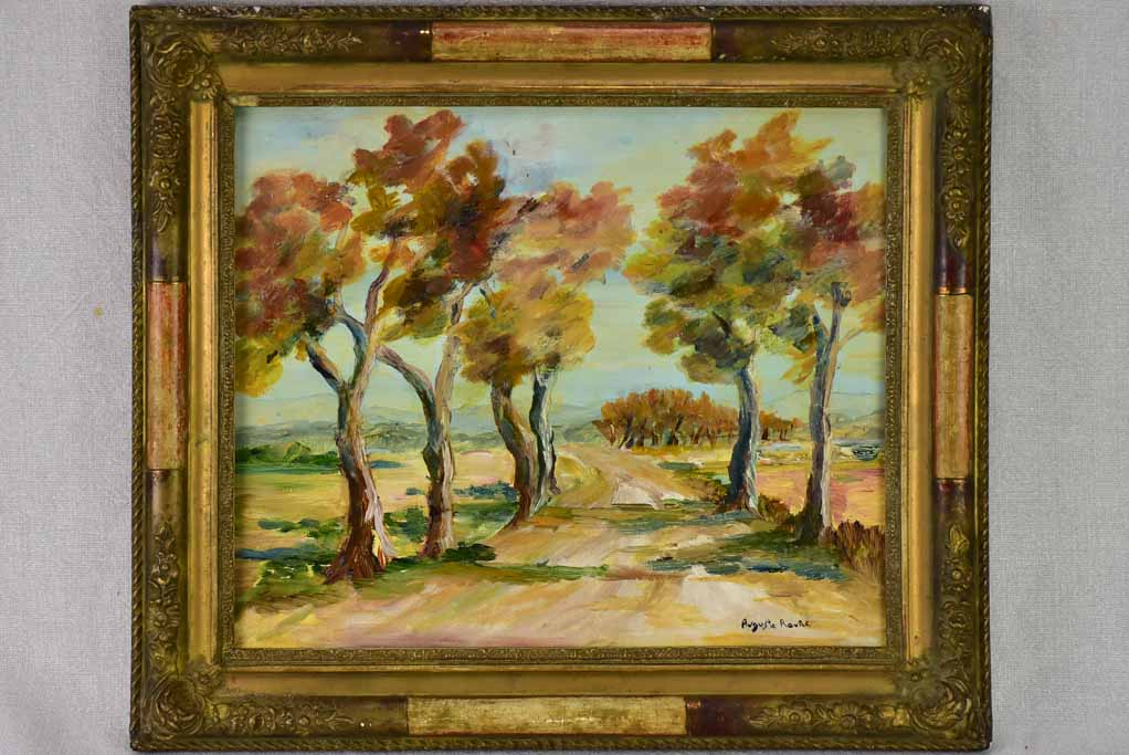 "Antique French painting of a country road in Provence - oil on board. Auguste Raure (1878-1936) 17¾"" x 15¾"""