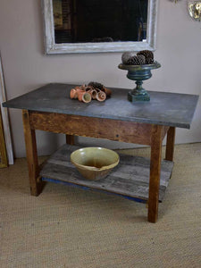 Antique French table with zinc top - florist or oyster table