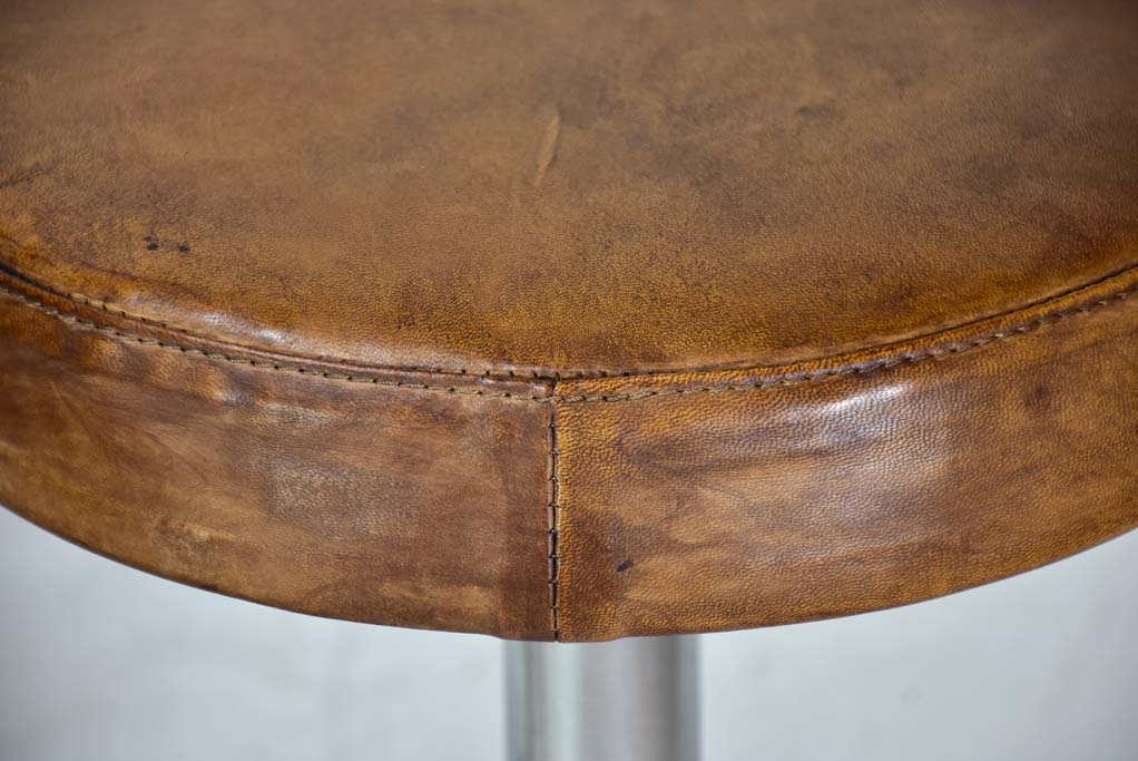 Pair of vintage French bar stools with leather seats 33¾""