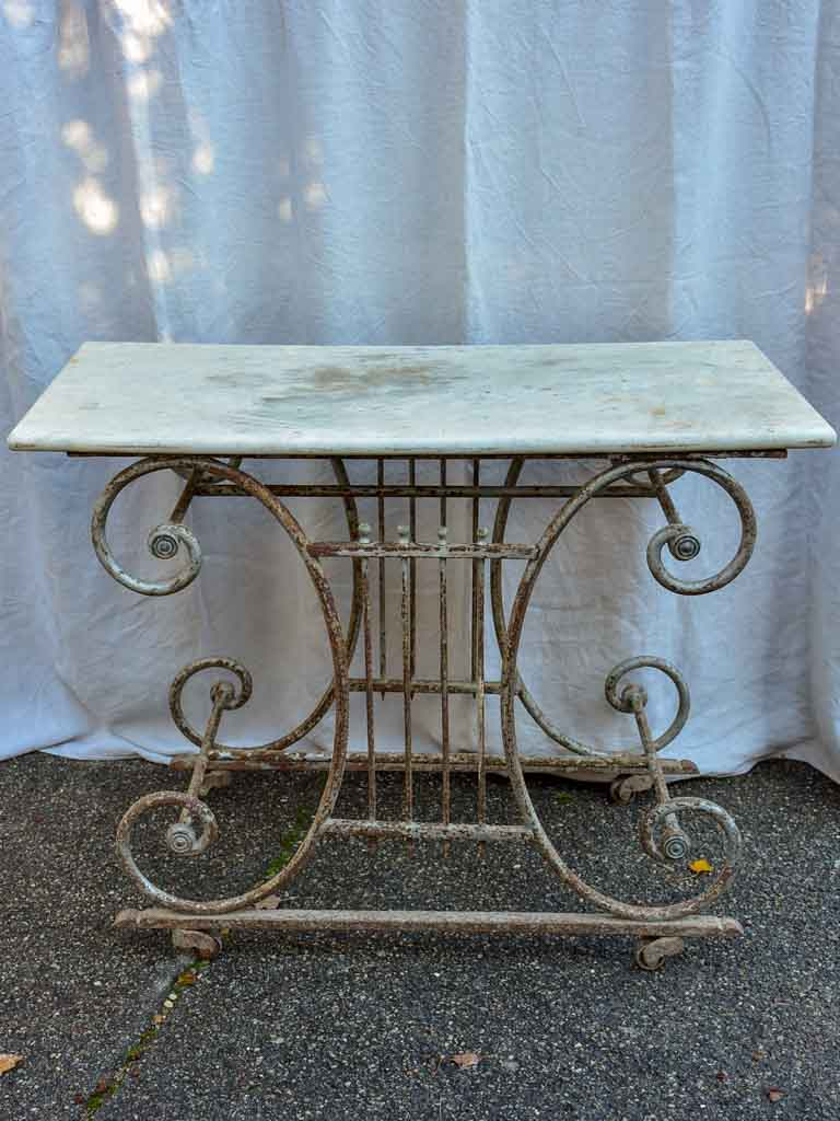 19th Century French butcher's table - Lyre-base with marble top