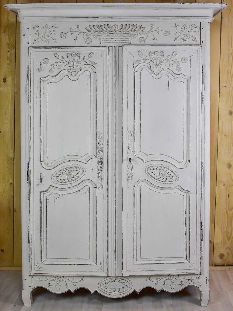 Antique French marriage armoire with white patina