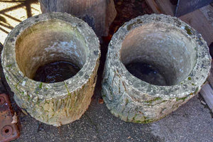 Pair of large faux bois garden planters