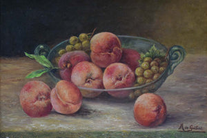 Vintage still life painting - peaches and grapes in a glass bowl. M de Guibert 1971