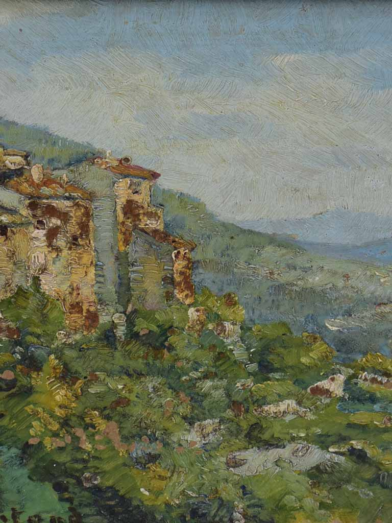 Small vintage French painting of a hilltop village and the countryside