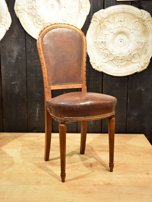 Set of eight Louis XVI style French dining chairs – leather