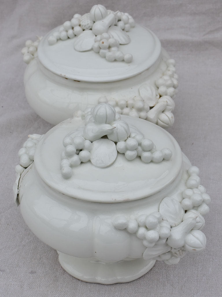 Pair of early 20th Century Italian soup tureens - white with sculpted garlands