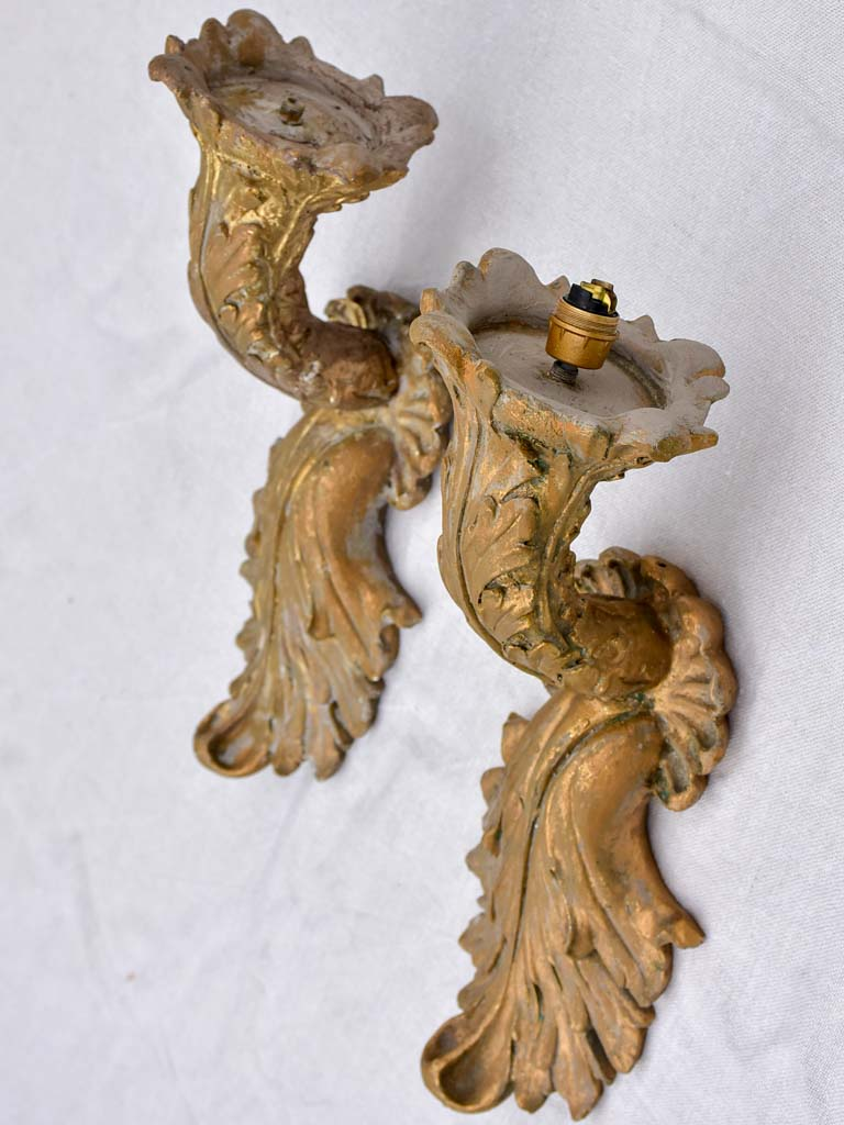 Pair of vintage resin wall appliques - rocaille style