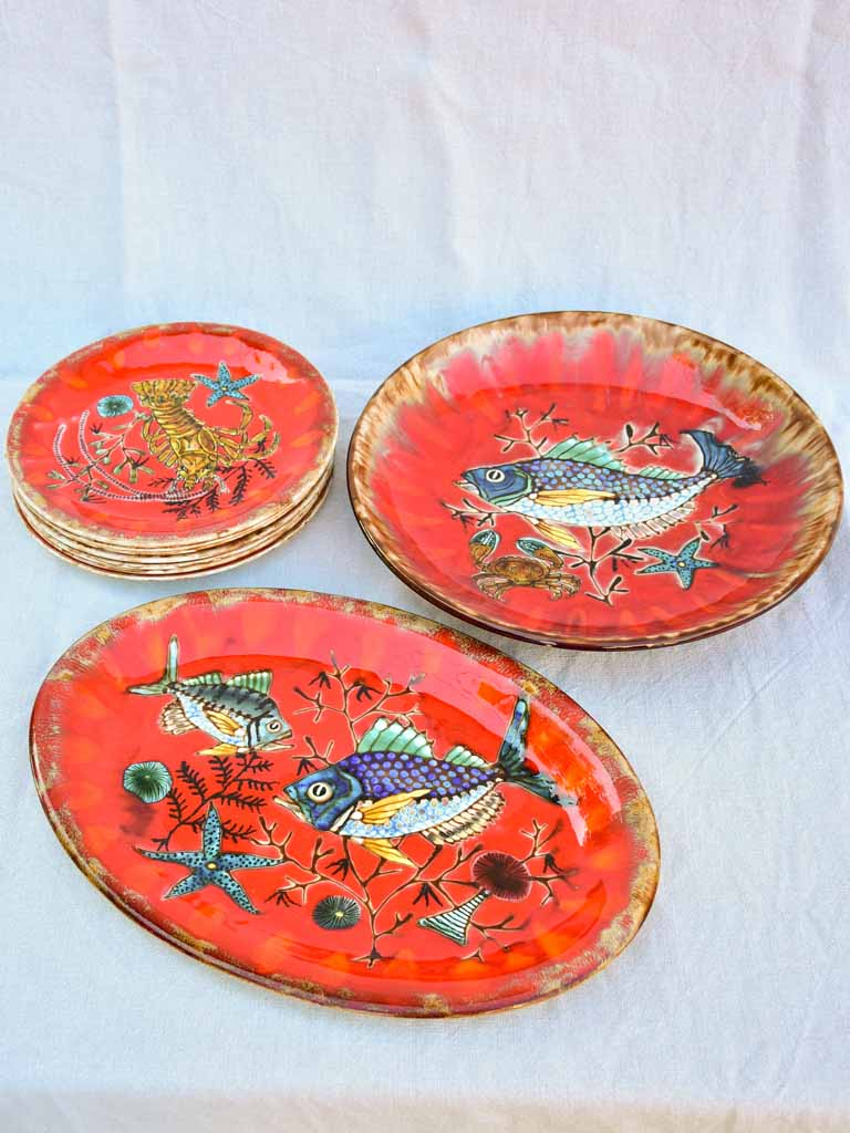 Handpainted vintage French seafood service 1969