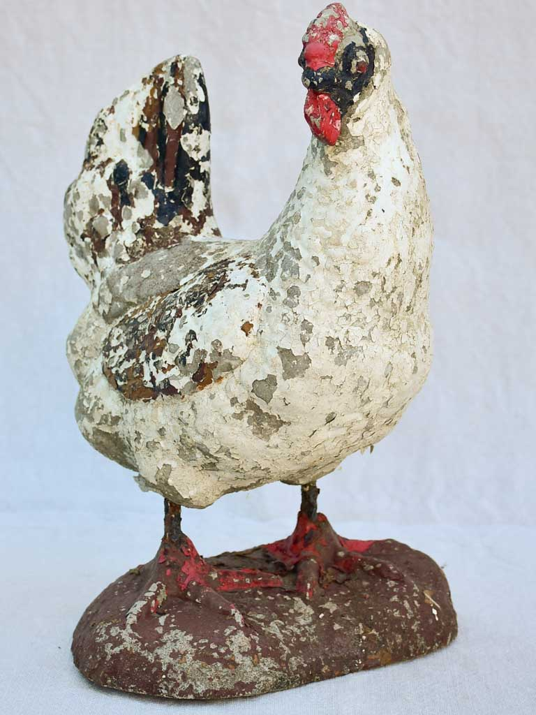 Vintage French garden sculpture of a hen 14½""