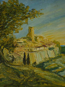 Vintage French painting of a perched Mediterranean village