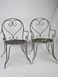 Pair of mid-century French garden armchairs with heart backs