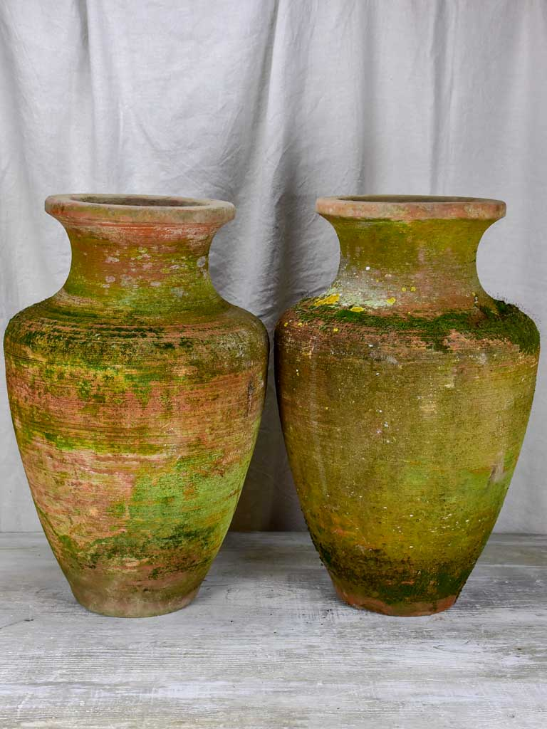Pair of large antique terracotta Castelnaudary flower pots 26½""
