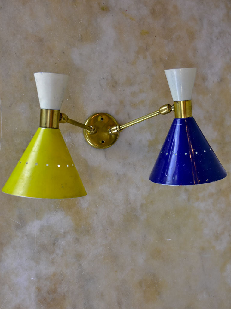 Original Stilnovo double wall sconce - blue, yellow white