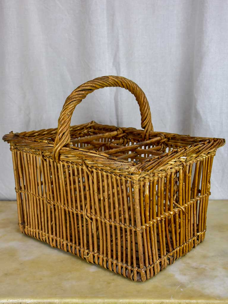 Vintage French bottle picnic basket