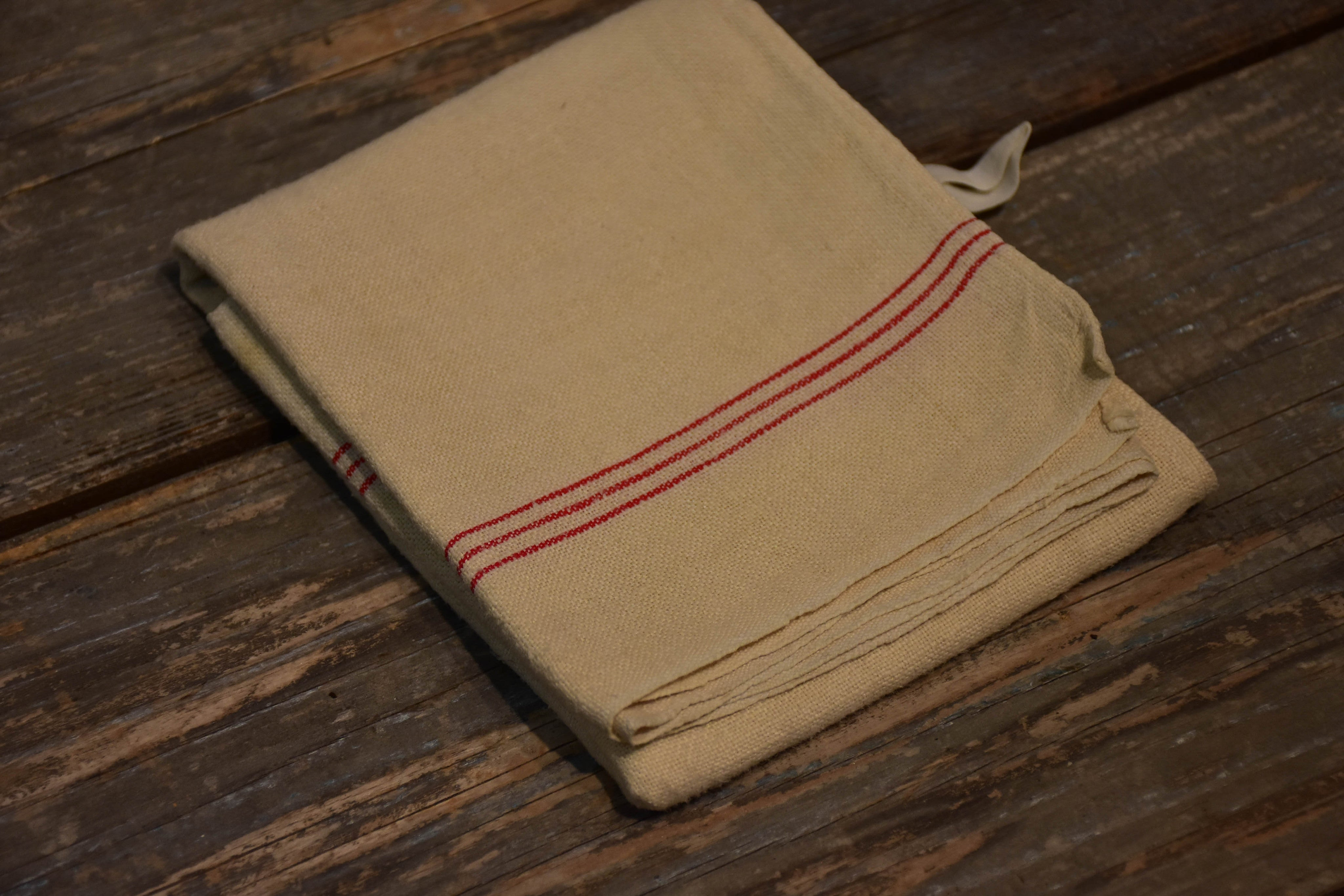 Vintage French tea towel with red stripes