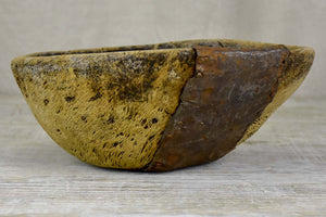 Primitive wooden bowl from south west France with repairs