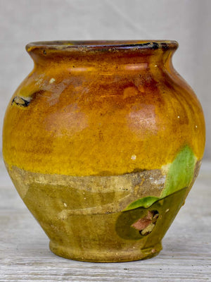 Small antique French confit pot with yellow and green glaze 6¼""