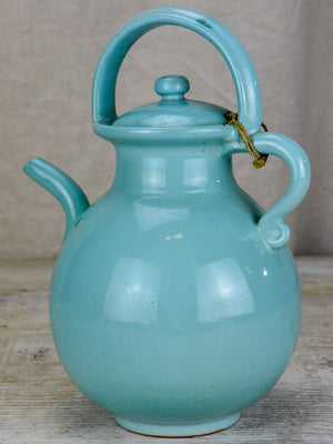 Vintage French water pitcher with lid and light blue glaze