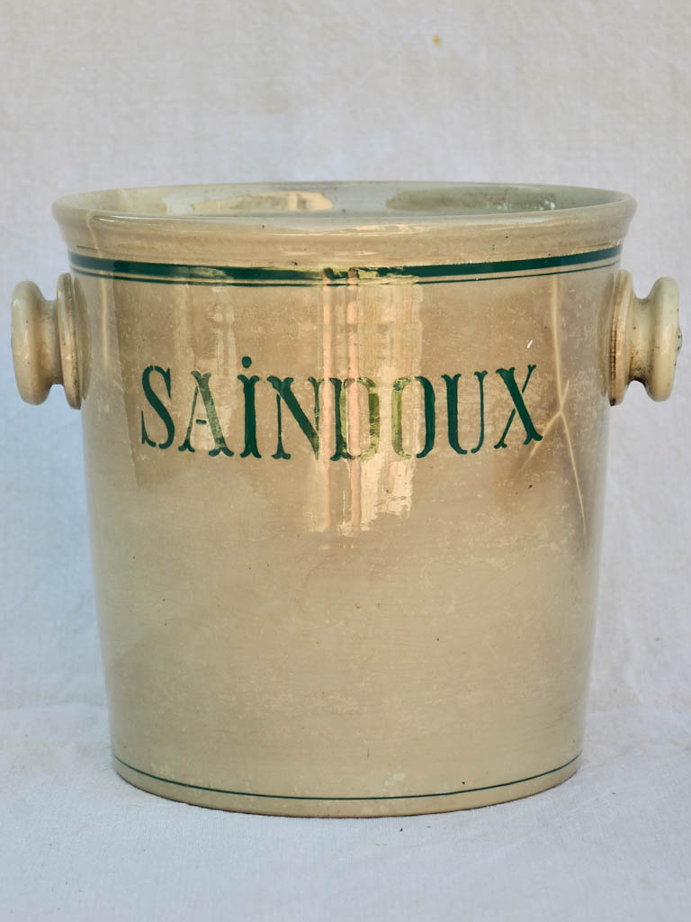 Antique French faience pot - Saindoux 9¾""