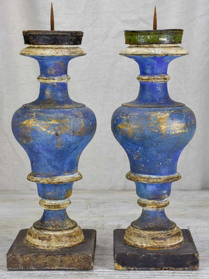 Pair of 19th Century Italian candlesticks with blue patina