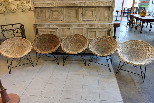 1950's wicker armchairs - five available