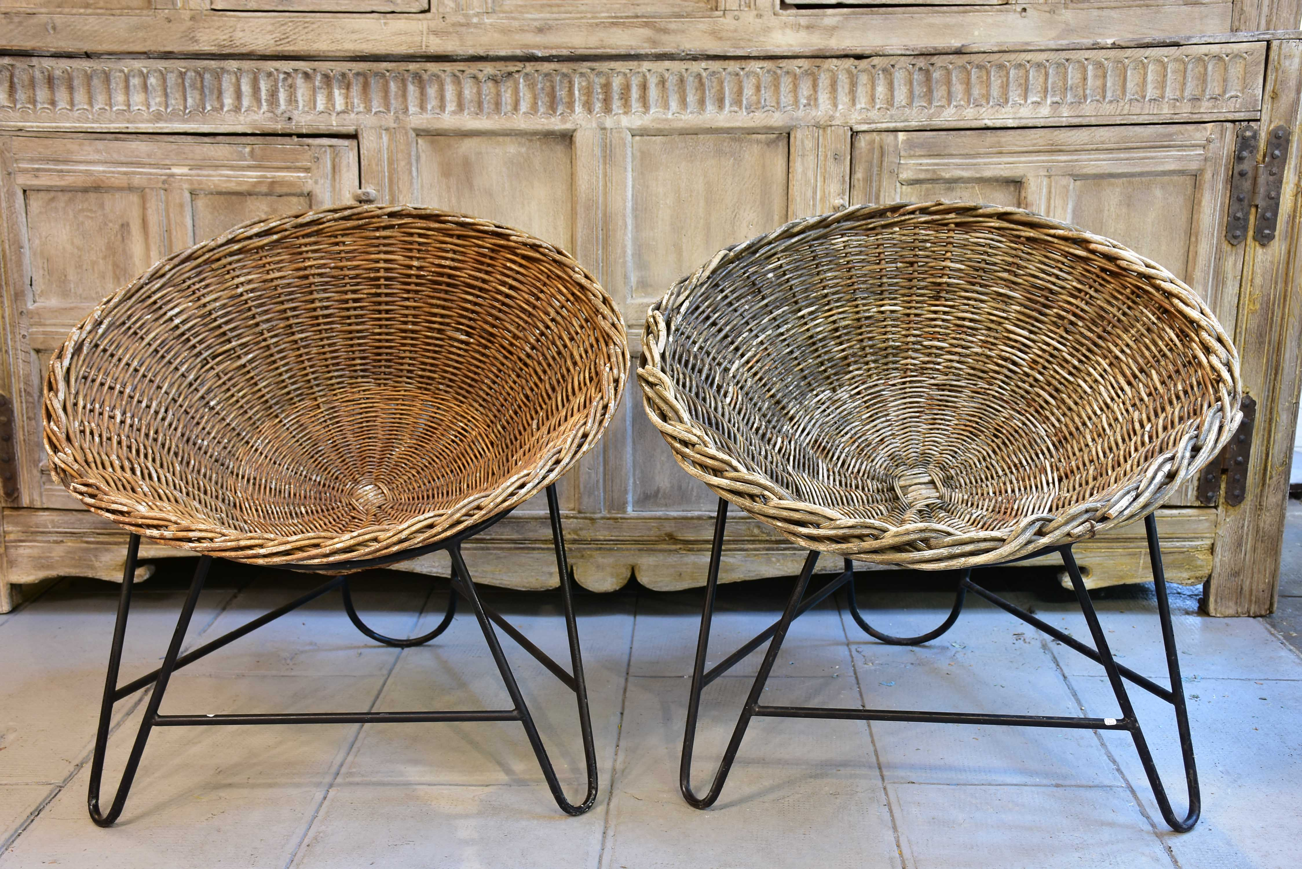 1950's & 60's wicker chairs - lot of seven