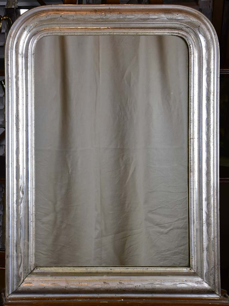 "Silver antique French Louis Philippe mirror 27 ¼"" x 36 ½"""