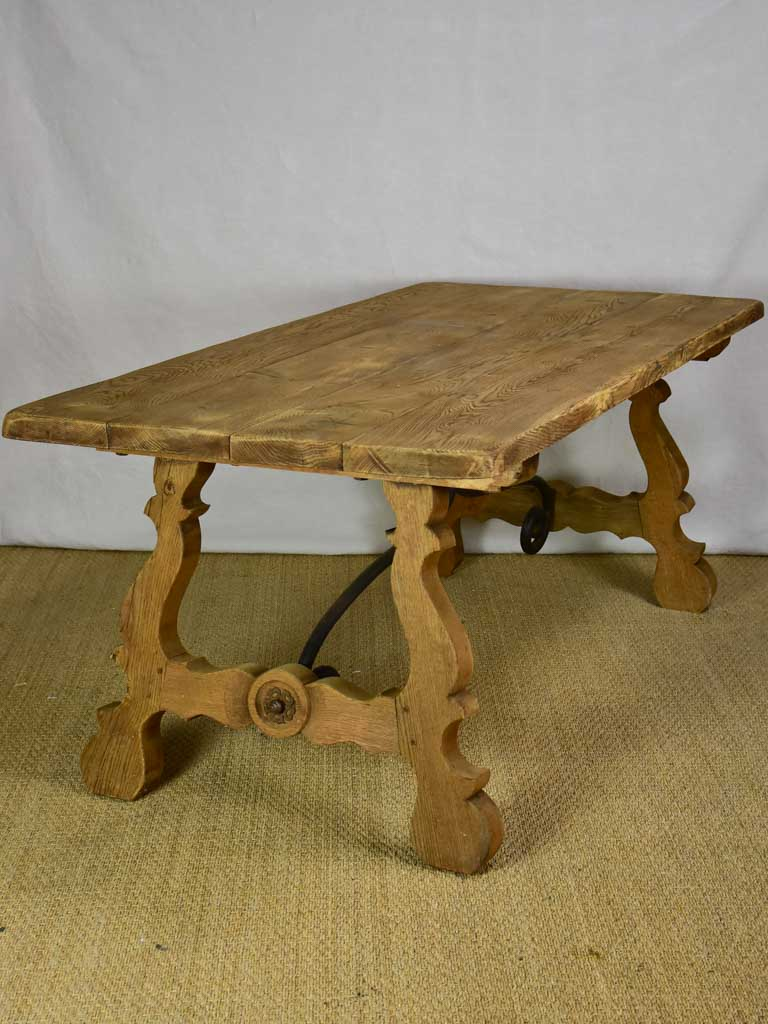"Antique Spanish oak table with wrought iron stretcher 34¼"" x 70¾"""