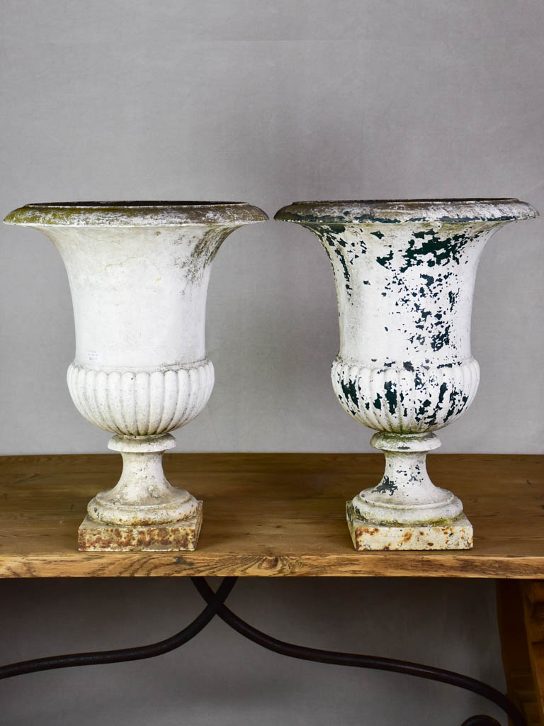 Pair of early 19th Century French Medici urns - cast iron, white 26""