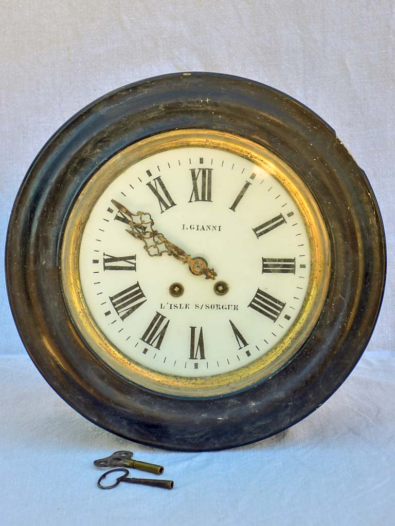 Antique French clock from L'isle-sur-La-Sorgue 15""