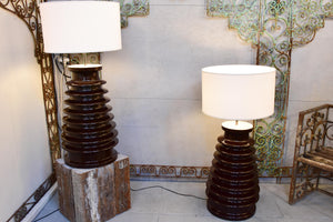 Pair of vintage lamps made with salvaged electrical isolators