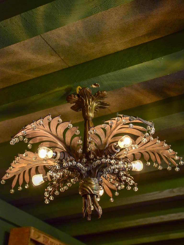 Small model antique palm chandelier